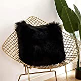 YIHAIC Kissenbezüge, Kunstfell Kissenbezug Superweich Throw Kissenbezüge Cafe Sofa Kissenbezug Auto Home Decor (schwarz)