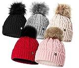 HEYO Damen Wintermütze mit Fleece Innenband H18527   Slouch Beanie Winter Mütze   Warme Strickmütze mit Bommel   Bommelmütze (Hellgrau)