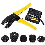 Fontic Crimpzange Kabelschuhzange mit 5 wechselbaren Einsätzen, Presszange für Kabelschuhe inklusive Schraubenzieher, Aderendhülsen Zangemit Werkzeugtasche