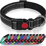 Taglory Hundehalsband, Weich Gepolstertes Neopren Nylon Hunde Halsband für Kleine Hunde, Verstellbare und Reflektierend für das Training, Schwarz