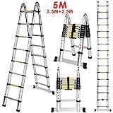 Voluker Teleskopleiter 5M Ausziehleiter aus hochwertigem Alu Teleskop-Design Mehrzweckleiter, Max Belastbarkeit 150kg