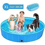 femor Hundepool Swimmingpool Für Hunde und Katzen Schwimmbecken Hundebadewanne Faltbarer Pool mit PVC-rutschfest Verschleißfest Für Kinder XL