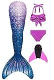 Decool 2019 Neu Mädchen Meerjungfrau Schwanz Badeanzug - Prinzessin Cosplay Bademode für das Schwimmen mit Bikini Set und Monoflosse, 4 Stück Set 120-130 Ps02