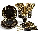 ZIMAIC 141 Stück Schwarzes Gold Partyzubehör Pappbecher Pappteller Set, Einweg Papier Geschirr Set einschließlich Tischdecke Teller Becher Servietten zum Geburtstag, Hochzeiten, Jubiläums (20 Gäste)