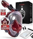 Hyponix Schnorchelmaske Vollmaske   Tauchermaske   Tauchmaske   Full Face Snorkel Mask mit sicherer Abfuhr von CO2, kompatibel mit GoPro Halter und Antibeschlag   Tragetasche, Ohrschutz u.v.m…