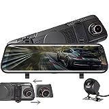 Dashcam,VISGOGO Autokamera 10' Zoll Touch Screen Dashcam Rückspiegel Full HD 1080P Weitwinkel Frontkamera und 720P Rückfahrkamera mit Nachtsicht, Parkplatz-Überwachung,Bewegungserkennung
