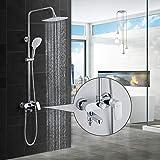 BONADE Duschsystem mit Armatur Regendusche Duscharmatur Set inkl. 9 zoll Überkopfbrause, Handbrause mit 3 Strahlarten, höhenverstellbare Duschsäule, Duschset mit Wasserhahn für Bad