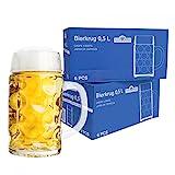 Van Well 12er Set Maßkrug 0,5L geeicht   Halber Liter Bierkrug mit Henkel   Bierglas spülmaschinenfest perfekt geeignet für Gastronomie