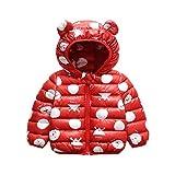 Baby Winterjacke mit Kapuze, Jungen Mädchen Wintermantel Schneeanzug Kinder Kleidung Outfits Warmer Mäntel Geschenk 6-12 Monate,Rot