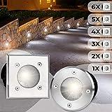 Bodeneinbaustrahler Eckig 6er Set   Außen (10x10x12cm), LED geeignet / GU10 / IP65-67, aus Edelstahl   Gestalten- und Setauswahl   Bodenstrahler, Gartenstrahler, Bodenleuchte