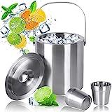 MVPower eiswürfelbehälter mit Deckel, Eiskübel Edelstahl, Eisbehälter mit Edelstahlbecher, 2.5L Größere Kapazität Doppelstöckiger Eiseimer für besonders Lange Kühlung (Silber)