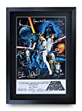 HWC Trading Star Wars A3 Gerahmte Signiert Gedruckt Autogramme Bild Druck-Fotoanzeige Geschenk Für Mark Hamill Harrison Ford Carrie Fisher ALEC Guinness George Lucas Filmfans