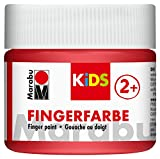 Marabu 03030050232 - Kids Fingerfarbe rot 100 ml, Fingermalfarbe auf Wasserbasis, parabenfrei, vegan, laktosefrei, glutenfrei, geeignet zum Malen in Kindergarten, Schule, Therapie und zu Hause