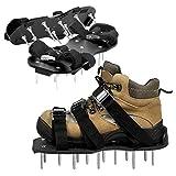 About1988 Rasenlüfter Schuhe, 6 Riemen Rasenbelüfter-Nagelschuhe, Rasenbelüfter Nagelschuhe Rasenbelüfter Sandalen Vertikutierer (Schwarz)
