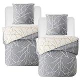Bedsure Baumwolle Bettwäsche 135x200 cm 4 teilig Grau/Beige Bettbezug Set mit schickem Zweige Muster, weiche Flauschige Bettbezüge mit Reißverschluss und 2 mal 80x80cm Kissenbezug