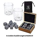 WOMA 8 Whisky Steine mit 2 Whiskey Gläsern, Zange & Holz Geschenkbox - Whiskeysteine Geschenkset aus natürlichem Basalt - Eiswürfel Wiederverwendbar