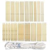 Doppelend Stricknadeln Set, Stricknadeln aus Bambus für Anfänger und Profis, 80 Stücke (16 Größen X 5 Einheiten), 2mm-12mm, 25 cm Länge, mit einwickelbarer Canvas-Aufbewahrungstasche