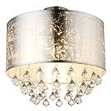 Decken Leuchte Beleuchtung Lampe Stoff Blattsilber Kristall Behang Globo 15188D3