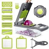 POWERAXIS Gemüseschneider Obstschneider, 12 in 1 Multischneider Küchenhobel Gemüsehobel, Kartoffelschneider mit Messereinsätzen Obst und Gemüse Zwiebelschneider Gemüsereibe/Würfeln/Hobeln/Schälen