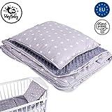 Babydecke Kuscheldecke Baby - winter kinder decke Babydecken für Mädchen und Junge Kinderdecke 100x135 aus Baumwolle Minky mit kissen grau Set