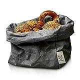 bun-di Swiss® - KREMPELBOX XL   Großer Brotkorb, Paper-Bag, Utensilo, Deko-Übertopf, Geschenkbox   Waschbares Papyr mit Lederoptik (Veganes Leder)   Ø 20cm (Anthracite)