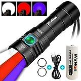 Wurkkos WK30 Multifunktionale Taschenlampe,3 verschiedenen Lichtquellen,12-Modus,1100 Lumen Weiß Licht/Rot Licht/ 365nm UV Taschenlampe USB wiederaufladbar schwarzlicht taschenlampe Inkl.26650 Akkus