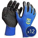 S&R Arbeitshandschuhe 12 Paar XL aus NYLON mit LATEX-Beschichtung, 'DRIVE-GRIP'-Technologie Schutzhandschuhe geeignet für den privaten und gewerblichen Gebrauch (XL/10)