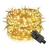 Tersely 20m 200er LED Lichterkette Weihnachten Kette Leuchte auf Transparent Kabel LED Lichter mit 8 Modi Innen und Außenbereich Lauflichter für Saal, Garten, Weihnachten, Hochzeit, Party-Warmweiß