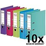 Original Falken 10er Pack Chromocolor Premium-Ordner. Made in Germany. Kunststoffbezug außen und innen 8 cm breit DIN A4 Pastell-Farbe farbig sortiert zu je 2x mint, hellblau, lindgrün, pink, violett