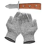 Set mit Austernmesser und Schnittfeste Handschuhe Austernöffner und Schnittschutzhandschuhe für Muscheln oder Hartkäse geeignet - Oyster Knife (Küche, Gartenarbeit, DIY) (Groß)
