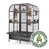 Montana Cages  | Papageienkäfig mit Trennwand XXL Chicago - Antik Käfig, Voliere für Papageien