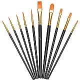 Vicloon Nylon Pinsel, 10 Stück Künstlerpinsel, Pinselset-Malen für Aquarell, Acryl & Ölgemälde, Perfektes Detail Pinsel für Anfänger, Kinder, Künstler und Gemälde Liebhaber - Schwarz