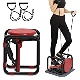BSET BUY Stepper für Zuhause,Twister Stepper mit Plastik Power Ropes Drehstepper Sidestepper Fortgeschrittene Up-Down-Stepper mit Multifunktions-Display Widerstand ist Nicht Einstellbar