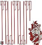 10x Absperrleinenhalter mit Kette Ø 14 x 1220 mm geriffelt, rot lackiert, inkl. 25 Meter (6mm) Absperrkette rot/weiß