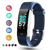 Glymnis Fitness Armband Fitness Tracker IP68 Wasserdicht Smartwatch Farbbildschirm Pulsuhren Aktivitätstracker und Schrittzähler mit Pulsmesser 0,96 Zoll für Damen Herren (Blau)