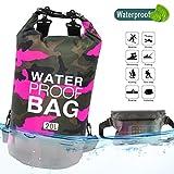 Idefair Wasserdichter Packsack, Schwimmender Trockenrucksack Strandtasche Leichter Trockensack für den Strand, Bootfahren, Angeln, Kajakfahren, Schwimmen, Rafting, Camping 10L 20L (Rose, 10L)