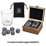 WOMA 6 Whisky Steine mit Whiskey Glas & Holz Geschenkbox - Whiskeysteine Geschenkset aus natürlichem Basalt - Eiswürfel Wiederverwendbar