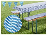 heimtexland ® Biergarnitur-Auflagen Set Bierbank-Polster Tischdecke Bayrische Raute Bavaria Blue Oktoberfest Party Deko Biertisch Maße 50 x 220 cm Typ331