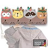 farbige Indianer G1 Kindergarderobe mit 4 Haken, viele Motive, Maße ca.: 40 x 15 x 1 cm, Wandgarderobe, Kleiderhaken, Wandhaken, Kindermöbel, Garderobenhaken, Kinderzimmer
