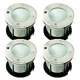 SAILUN® 4 x 3W LED Bodeneinbaustrahler Edelstahl rund Bodenleuchte AC 230V IP68 270Lumen Für Aussen Wegbeleuchtung Garten Terrasse Treppen (4 Stücke)