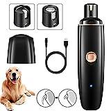 EasyULT Pecute Krallenschleifer Hund und Katzen, Elektrische Nagelfeile und Nagelschleifer mit 2 Schleifscheiben, USB Wiederaufladbar Krallenschere für Hund zum schonenden Trimmen und Glätten