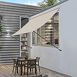 [pro.tec] Markise 200 x 120 cm in Sandfarben Beige Witterungsbeständig Sonnenschutz Beschattung Terrasse Garten