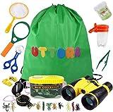 UTTORA Fernglas Kinder, Draussen Forscherset für Kinder 21 Stück Spielzeug Set mit Bug Catcher Pinzette Insect Viewer Kompass Lupe & Schmetterlingsnetz für Camping und Outdoor-Sport