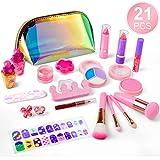 balnore Kinderschminke Set 21 Stück Waschbar Schminkset Spielzeug Kosmetiktasche Makeup Set Mädchen Rollenspiel Spielzeug Geschenke für Kinder ab 3 Jahren