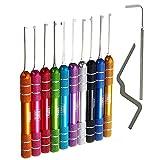 Loboo Idea 12-teiliges mehrfarbiges Dimple Kaba Lock Pick Set Werkzeug, Dimple Kaba Lock Pick Haken und Lock Pick Spannschlüssel für Anfänger und Profi Schlosser