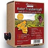 3 Liter Trauben Direktsaft rot aus der Pfalz, 100% roter Traubensaft, vegan und ohne Zusätze - 3 Liter Boxen (1 x 3 Liter)