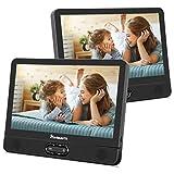 NAVISKAUTO 12' Tragbarer DVD Player für Auto Großer Kopfstütz Monitor 1024 * 600 mit Akku 180°Schwenkbarer Deckel USB/SD AV IN/Out