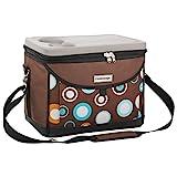 anndora Kühltasche 22 L Kühlbox 35 x 24 x 27 cm - braun Blaue Kreise