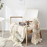 Gestrickte Decke mit Quaste Beige für Nap auf dem Stuhl Sofa und Bet, Weich und Warm Kuscheldecke, Handgemachte Strickdecke, Wohndecke für Wohnzimmer/ Büro, 120 x180cm