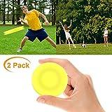 VZATT Mini Frisbee, 2020 Neueste Mini Wurfscheiben Flexible Weiche Rotation Mini Flying Disc fliegt über 60 Meter weit Für Eltern Kind Holiday Outdoor Sport Spielzeug - 2 Stücke (Gelb)